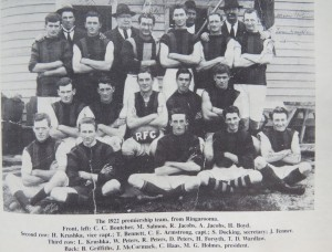 1922 Ringarooma FC shows their jumper