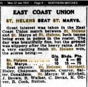 1931 22nd June St Helens